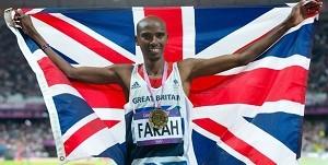 Mo Farrah with United Kingdom Flag